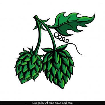 beer flower icon handdrawn sketch classical design