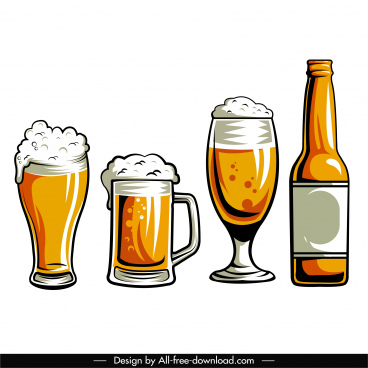 beer icons flat retro handdrawn sketch