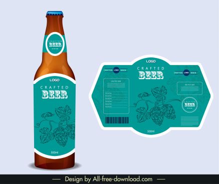 beer label template classic blue handdrawn flower decor