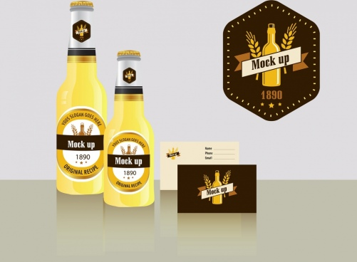 beer label template retro mockup design bottles icon