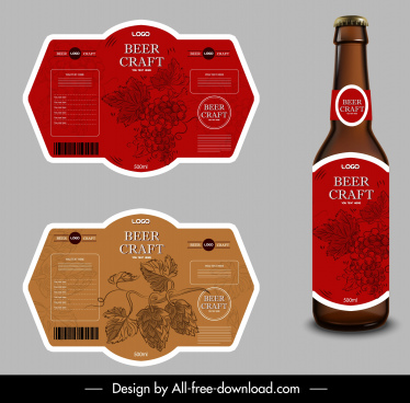 beer label templates flowers decor classic design