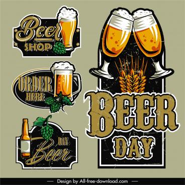 beer label templates vintage glasses bottle hop sketch