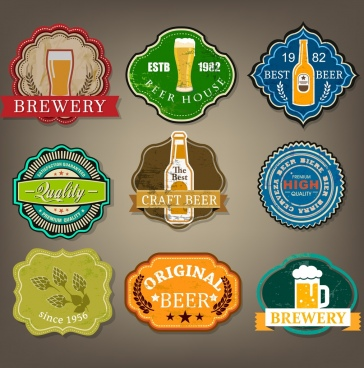 beer labels collection various multicolored retro shapes isolation