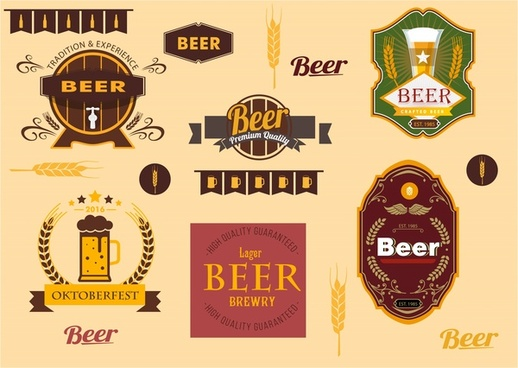 beer labels sets with vintage design style
