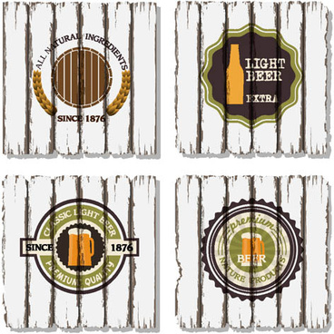 beer labels with retro wood board vector