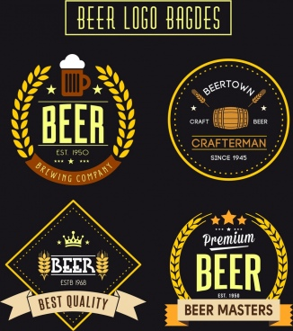 beer logo badges collection various colorful classical styles