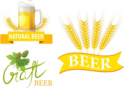beer logo design barley glass ribbon calligraphic decor