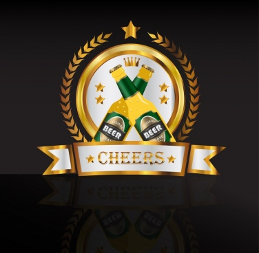 beer logo design sparkling golden decoration