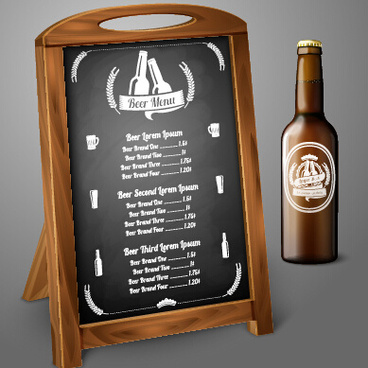 beer menu and beer bottle vector