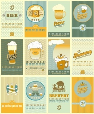 beer menu creative cover vector set