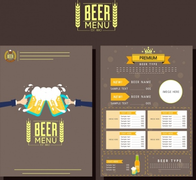 beer menu template classical brown design glasses icon