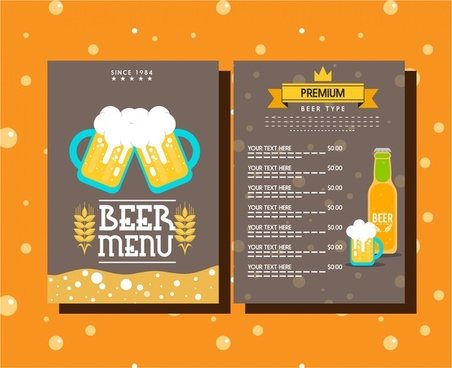 beer menu template symbols elements on dark background