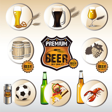 beer with food labels vector design