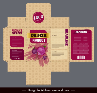 beet product packaging template grunge retro decor