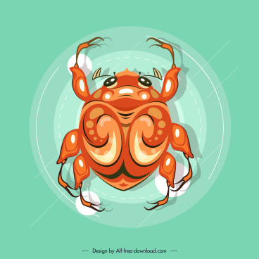 beetle creature icon orange modern flat sketch