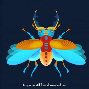 beetle icon colorful flat sketch