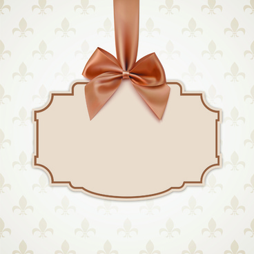 Beige Bow Card Template Vector