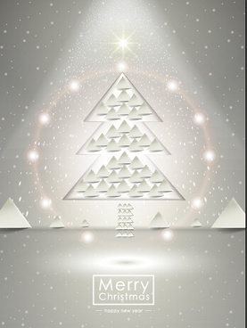 beige christmas background with christmas tree vector