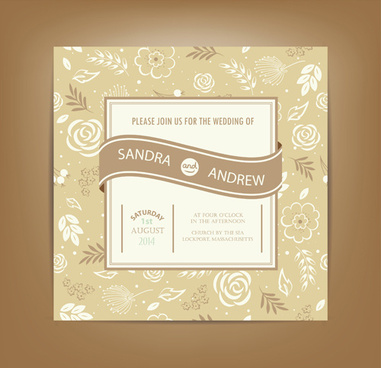 beige floral wedding cards vectors