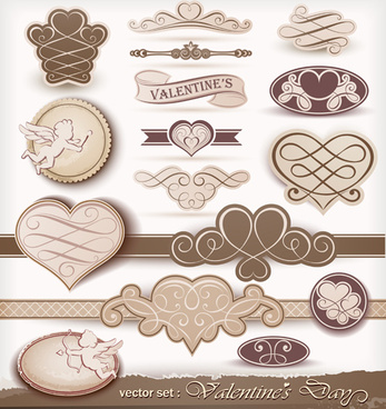beige valentine day labels vectors set
