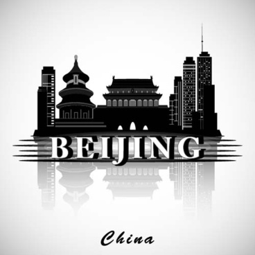 beijing city background vector