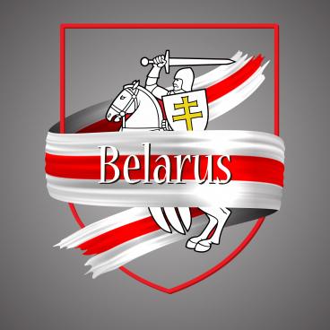 belarus flag and emblem official national colors belarus 3d realistic ribbon belarusian waving red and white vector patriotic glory flag stripe sign vector illustration emblem design for poster or print