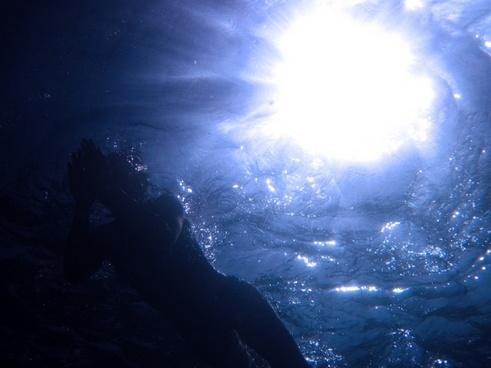 below beneath blue
