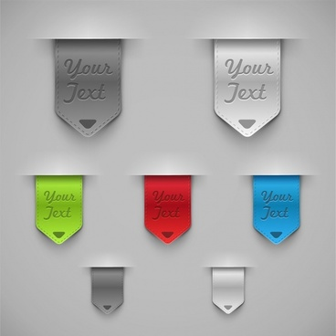 leather labels templates colored modern 3d sketch