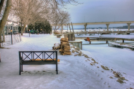 bench in the winter in sturgeon bay wisconsin