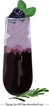 berry juice icon colorful classic design closeup sketch