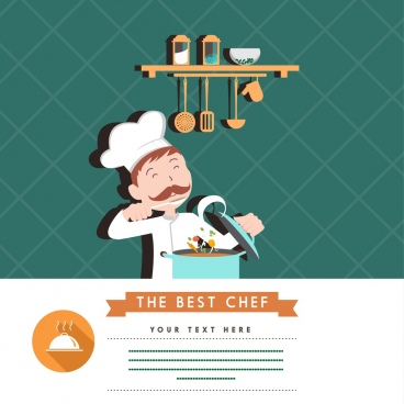 best chef advertisement cook kitchenwares icons ornament