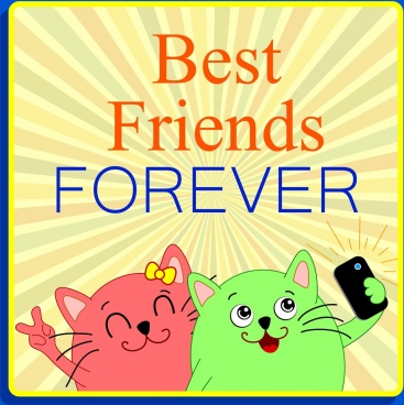 best friend background cute cartoon cats selfies style