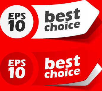 best of red sticker design vector