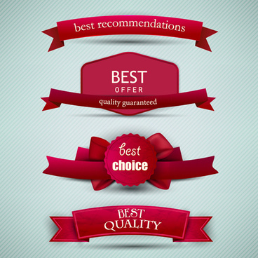 best quality labels with ribbons vector