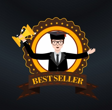 best seller badge template human trophy ribbon icons
