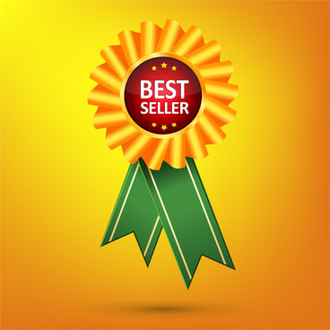 best seller vector design with gold medal illustration