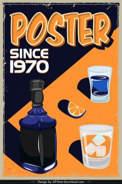 beverage advertising poster dark colored retro handdrawn sketch