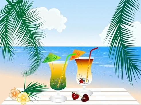 beverage beach vector