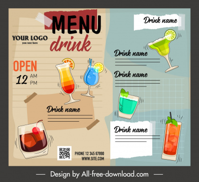 beverage menu template colorful dynamic flat handdrawn decor