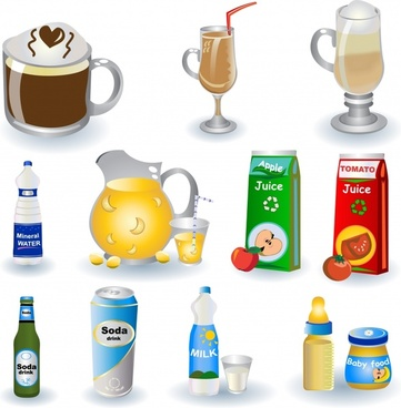 beverage design elements coffee juice milk water icons