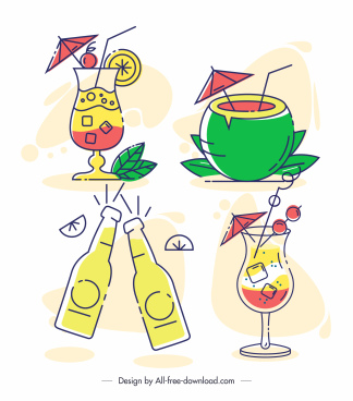 beverages icons cocktail coconut beer sketch flat handdrawn