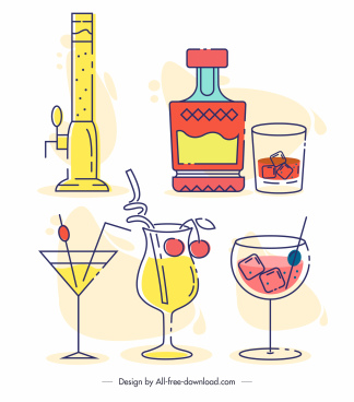 beverages icons colored flat classic handdrawn sketch