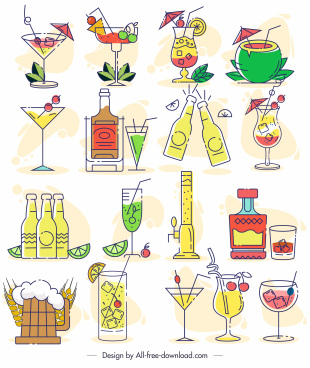 beverages icons colorful classic flat sketch