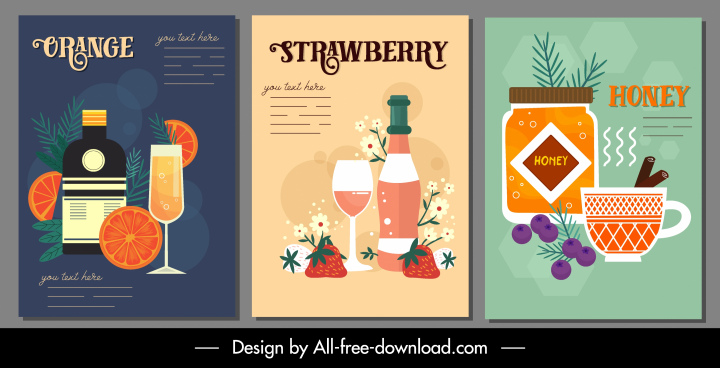 beverages poster templates colorful classic decor
