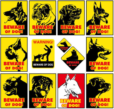 beware of dog warning signs vector