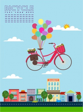 bicycle advertisement floating objects decoration