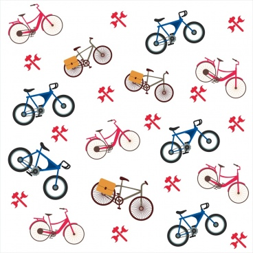 bicycle background colored flat symbols repeating style