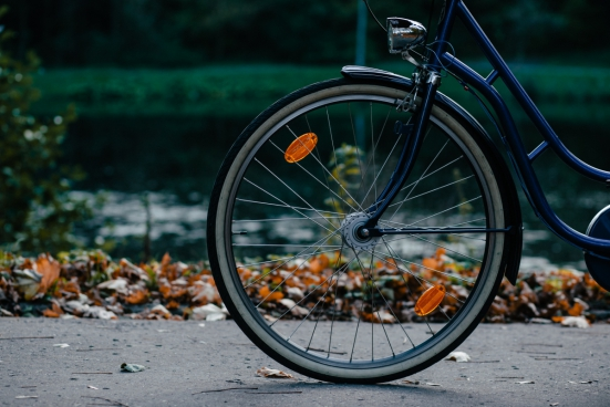 closeup of bicycle wheel outdoor