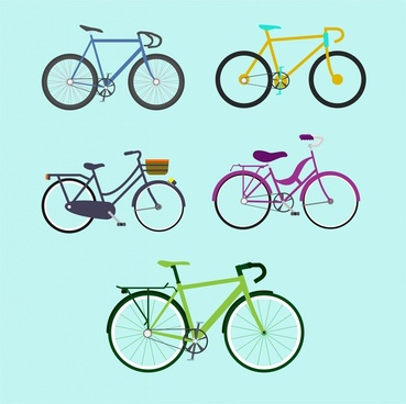 bicycle design collection various types on blue background