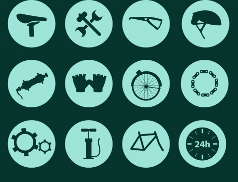 bicycle design elements flat accessories isolation